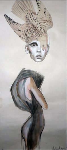 Girl With Bird poster by Anne Sofie Madsen Fashion Collage, Fashion Art, Fashion Design, Trendy Fashion, Fashion Ideas, Fashion Sketchbook, Fashion Sketches, Drawing Fashion, Textiles