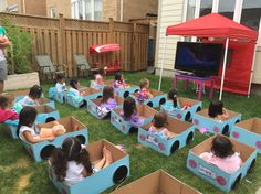 Leahs Drive-in movie birthday party. Its daylight so a projector screen probably wouldnt work so we lugged a TV outside.