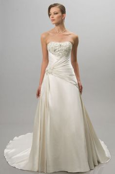 Ball Gown Satin Tube Top Strapless Zipper Sweep Appliques Beading Ruffle Wedding  Dresses With Short Sleeve 11e22cb4784e