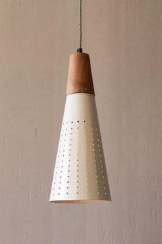 Kalalou Enamel Cone Pendant Lamp With Holes Ivory Shade