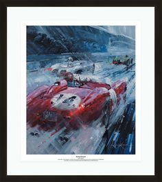 The 1958 24 Hours of Le Mans was the 26th edition of the iconic endurance race. Over 15 hours of the race were in the wet, resulting in thirteen crashes, one of which took the life of privateer Jean-Marie Brussin (Jaguar).  Scuderia Ferrari won first place in the #14 Ferrari 250 TR/58 (s/n 0728TR). This was the first ever overall win for an American and a Belgian driver and the third time Scuderia Ferrari won the endurance race.  Tap the link to get your copy! Lamborghini Sesto, Speed Boats, Fantastic Art, Print Pictures, Le Mans, Aston Martin, Impressionist, Jaguar, Ferrari