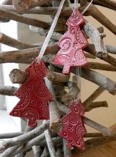Ceramic Christmas Ornaments Cherry Red Lace Christmas by Ceraminic, $16.00