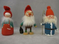 Vintage Wooden Christmas Tomte Elves Gnomes Swedish Collectibles 3 Figures | eBay