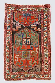 Caucasian-Cloud Band-Kazak-rug end of the 19th century, ghiordes-knot, worn, damaged, incomplete (fragment) 194*120 cm
