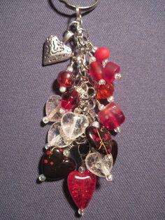 Red Black and Clear Bead Purse Charm / Key Chain by FoxyFundanglesByCori, $10.00