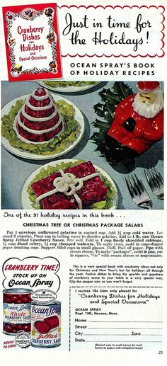 It's Cranberry Time! vintage food ad 1950s.  My grandmother used to work for Ocean Spray YEARS ago...always makes me think of her!