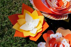 Candy Corn  Halloween  Large Paper Flower by ThriftyChicLove, $18.50