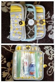 Makeup bags, first aid kits, pencil holders... the list goes on. All from potholders and cute buttons