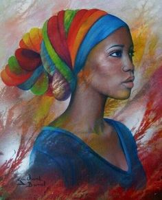 Colorful woman (pinned without author or title); beautiful color and memorable use of space