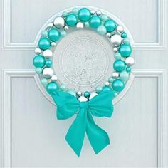 Classic home door decorated with blue balls wreath for the holiday. Mickey Y Minnie, Navidad Diy, Classic House, Christmas Wreaths, My Favorite Things, Royalty Free Stock Photos, Turquoise, Holiday, Crafts