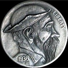 Keith Pedersen Hobo Nickel, Buffalo, Classic Style, Coins, Rooms, Water Buffalo