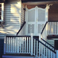 a10 Front Verandah, Front Gates, Queenslander, Entrance Doors, Exterior Colors, Home Renovation, Deck, Stairs, Building