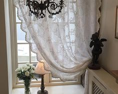 Clematis - Buttermilk soft cream sheer curtain panel with cream ties and exquisite detailed scalloped edges from Scandinavia