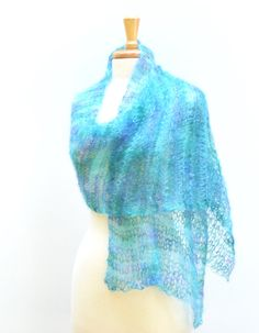 Aqua Summer Shawl Knitted Lightweight Mohair Wrap by Easy123, $68.00