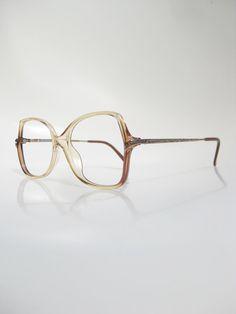 1970s Womens Glasses Oversized Boho Eyeglasses Vintage Viennaline Optical Frames Germany German Amber Yellow Brass Metallic 70s Bohemian