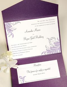 Pocket Wedding Invitations Purple   Google Search