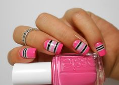 Pink w/Blk & White Stripes
