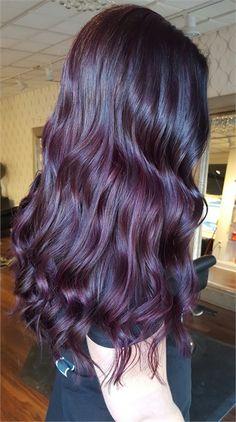 Burgundy Hair Color Ideas and Hairstyles Dark Burgundy Hair Color, Red Violet Hair, Purple Hair, Dark Hair With Color, Dark Cherry Hair, Dark Plum Hair, Brown Hair, Dark Red, Vibrant Hair Colors