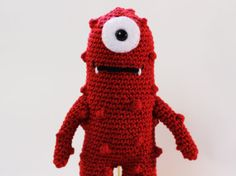 Made to OrderCute Red Monster Crochet Toy by CurlyTopCorner, $24.99