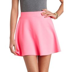 High-Waisted Skater Skirt ($17) ❤ liked on Polyvore featuring skirts, faldas, neon pink, pink flare skirt, high waisted circle skirt, flared skirt, flare skirt and charlotte russe
