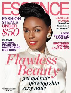 "Inside the May 2013 issue, Janelle Monae talks about how she is redefining sex appeal and why she chooses to wear black and white formal separates. ""I made a decision to be unique"" she says.  She also talks about showing skin to sell records, revealing she wants to: ""…redefine what it means to be sexy and what it means to be a woman. Showing my skin is not what makes me sexy."""