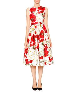 Poppy+&+Daisy+Open-Back+Party+Dress,+Red/Black/White+by+Dolce+&+Gabbana+at+Neiman+Marcus.