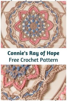 Crochet Motif Connie's Ray of Hope Is An Amazing Crochet Mandala Wall Hanging Free Pattern - This crochet mandala wall hanging free pattern is visually interesting and so beautiful!You can create some unique beautiful art with this pattern. Crochet Dreamcatcher Pattern Free, Motif Mandala Crochet, Crochet Doily Patterns, Thread Crochet, Crochet Crafts, Crochet Stitches, Crochet Projects, Knit Crochet, Doilies Crochet
