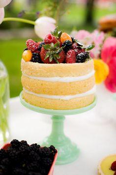 Naked wedding cake with summer fruits