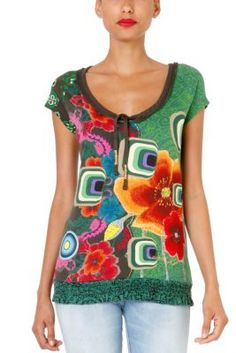 Erin Desigual women's T-shirt from the Galactic line. Color, upon color, upon color in this short sleeved T-shirt that cinches at the waist. Look stunning and fresh.