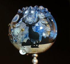 winter tab bead handmade glass bead SRA OOAK by CorneliaLentze, $31.00