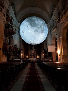 """allthingssoulful: """"Museum of the Moon in the oldest church in Cluj-Napoca. Pale Moon, Red Moon, Girl With Green Eyes, Old Churches, Tumblr, Gaudi, Trip Planning, Contemporary Art, Old Things"""