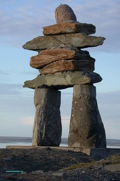Inukshuk Rankin Inlet Nunavut Canada The compelling Inukshuk as photographed in Nunavut by George Lessard. or Inuksuk built by the Inuit meaning: Arte Inuit, Inuit Art, Ontario, Ottawa, Beautiful World, Beautiful Places, Formations Rocheuses, Rocky Mountains, Canada Eh