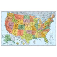 Shop for Advantus U. Physical/Political Map Dry Erase Single Roller Mounted 50 x Get free delivery On EVERYTHING* Overstock - Your Online Art & School Supplies Destination! Maps M, Flag Store, United States Map, Thing 1, Wall Maps, New Wall, Cartography, The Fresh, Travel Usa