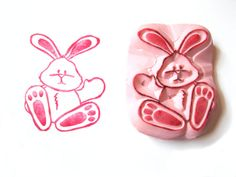 Easter Rubber Stamp Easter Rabbit Hand by SweetSpotStampShop, 8.99