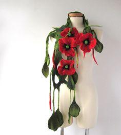 Felted scarf lariat  flower  poppy red gift under 50 by galafilc, $43.00