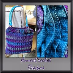 Variation in Turquoise and Purple Crochet Hand Bag