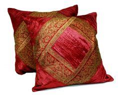 (SKU no: kmic 2029a) 2 Traditional Banarsi Silk Brocade Velvet Indian Ethnic Decorative Red Throw Pillow Cushion Covers, Krishna Mart India