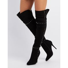 Charlotte Russe Faux Suede Studded Over-The-Knee Boots featuring polyvore women's fashion shoes boots black black stilettos over-the-knee flat boots black boots black over-the-knee boots high heel stilettos