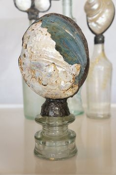 Soldered Shell on Glass Insulator by sharlenekaynedesigns on Etsy, $72.00