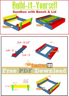 Sandbox with bench and lid plans, free PDF download, cutting list, and shopping list.