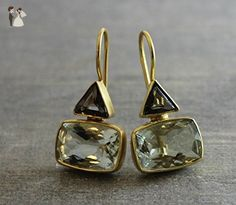 Smoky Quartz and Prasiolite Green Amethyst Gold Plated Sterling Silver Drop Earrings - Bridesmaid gifts (*Amazon Partner-Link)