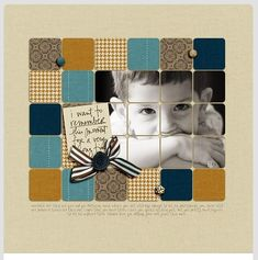 love the mosaic of squares including a photo and scraps