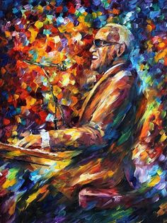 Ray Charles 3-espátula músico pianista pintura al óleo sobre lienzo de Leonid…