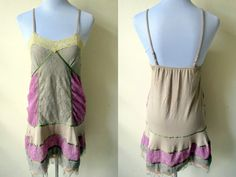 Spring / Summer Sale: nude & purple lace slip dress (small to medium) by VintageHomage