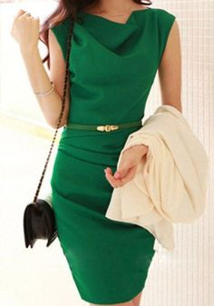 Green Plain Draped Belt Boat Neck Sleeveless Dress