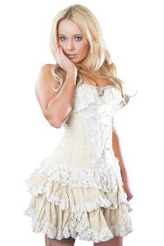 Burleska Cream Steampunk Skirt - Sophia Mini Skirt