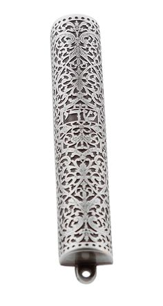Pewter Mezuzah Case. Adaptation of Silver Bible Binding. Germany, 17th Century | Judaica Web Store