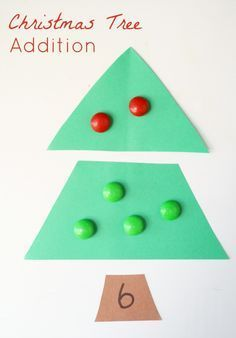 Christmas Tree Addition Activity for kindergarten and preschool! A great way to add some seasonal fun to math centers this holiday season! #mathcenters #holiday math