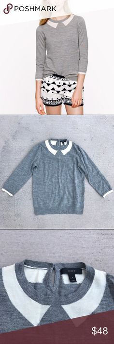 J. Crew Merino Wool Tippi Sweater • 100% Merino wool in a 14-gauge knit • Three quarter sleeves • Rib trim at beck, cuffs, and gem • Key hole and button at back neck • Slight puff shoulders • Light pilling from wear, not obvious when worn J. Crew Sweaters Crew & Scoop Necks