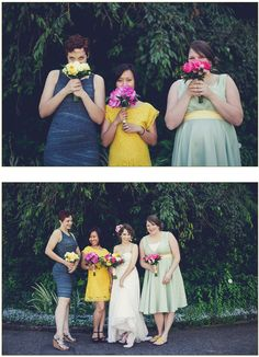 Non-traditional, mismatched bridesmaid dresses Mismatched Bridesmaid Dresses, Bridesmaids, Wedding Dresses, Wedding Inspiration, Design Inspiration, Wedding Ideas, Beautiful Bouquets, July Wedding, Tea Length